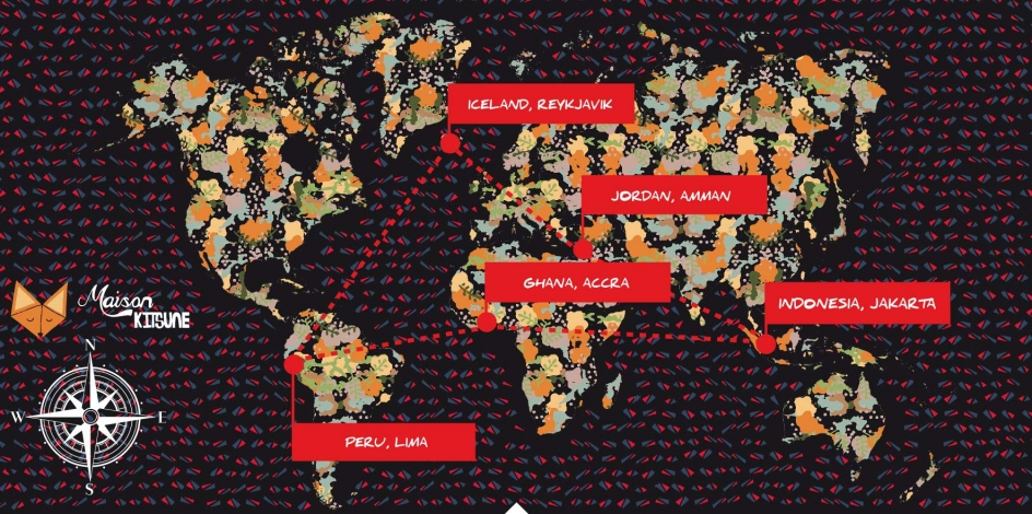 kitsune styled map of the world